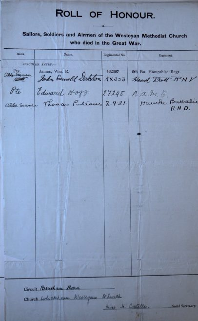 Whickham Wesleyan Roll of Honour. Methodist Archive and Research Centre (reference MA 8030 item 55)   Trustees for Methodist Church Purposes, 2018