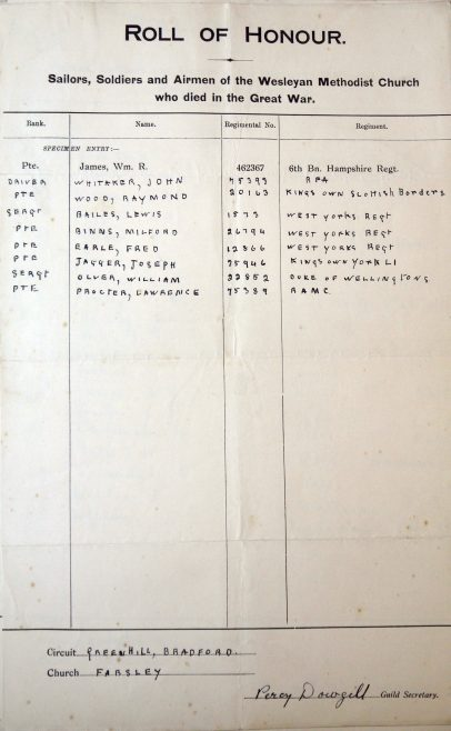 Farsley, Town Street, Roll of Honour. Methodist Archive and Research Centre (reference MA 8030 item 30) | Trustees for Methodist Church Purposes, 2018