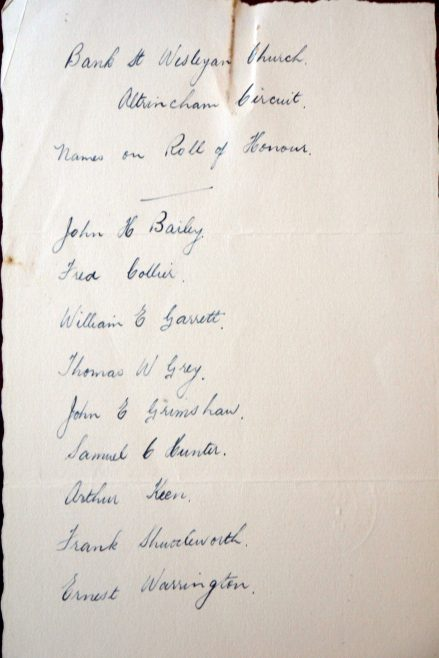 Bank Street, Altrincham, Roll of Honour. Methodist Archive and Research Centre (reference MA 8030 item 91 side 2)   Trustees for Methodist Church Purposes, 2018