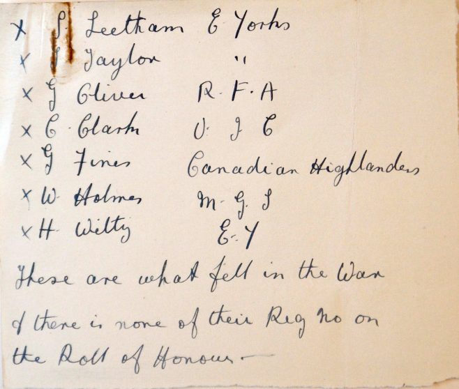 Spaldington Roll of Honour: the fallen. Methodist Archive and Research Centre (reference MA 8030 item 102)   Trustees for Methodist Church Purposes, 2018