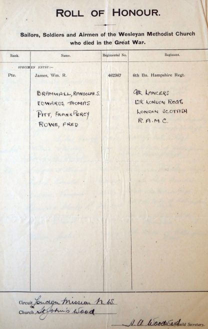 St. John's Wood Roll of Honour. Methodist Archive and Research Centre (reference MA 8030 item 115) | Trustees for Methodist Church Purposes, 2018