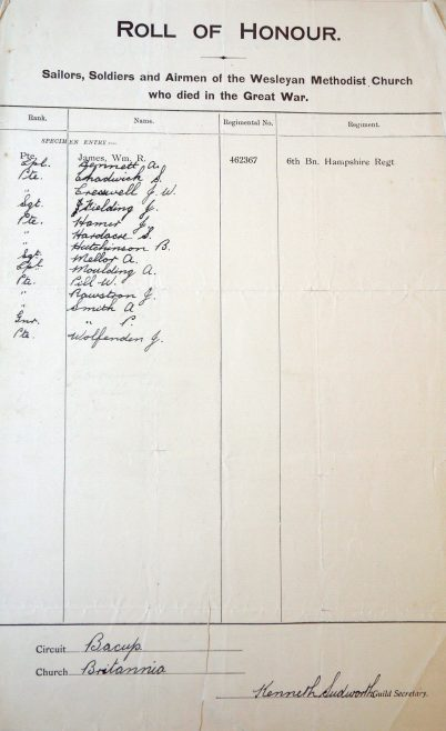 Brittannia Wesleyan Roll of Honour. Methodist Archive and Research Centre (reference MA 8030 item 183) | Trustees for Methodist Church Purposes, 2018