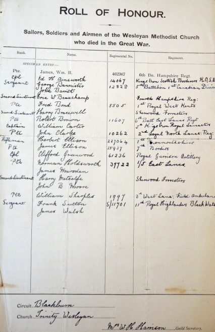 Trinity Wesleyan, Blackburn, Roll of Honour. Methodist Archive and Research Centre (reference MA 8030 item 189) | Trustees for Methodist Church Purposes, 2018