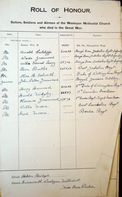 Crimsworth Roll of Honour. Methodist Archive and Research Centre (reference MA 8030 item 193) | Trustees for Methodist Church Purposes, 2018