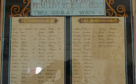 Barrow on Soar Primitive Methodist Church roll of honour