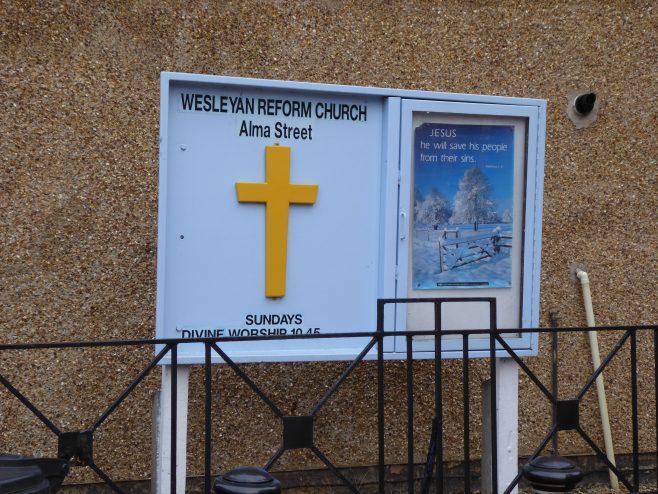 Wellingborough Alma Street Independent Wesleyan Chapel, notice board 3.1.2019