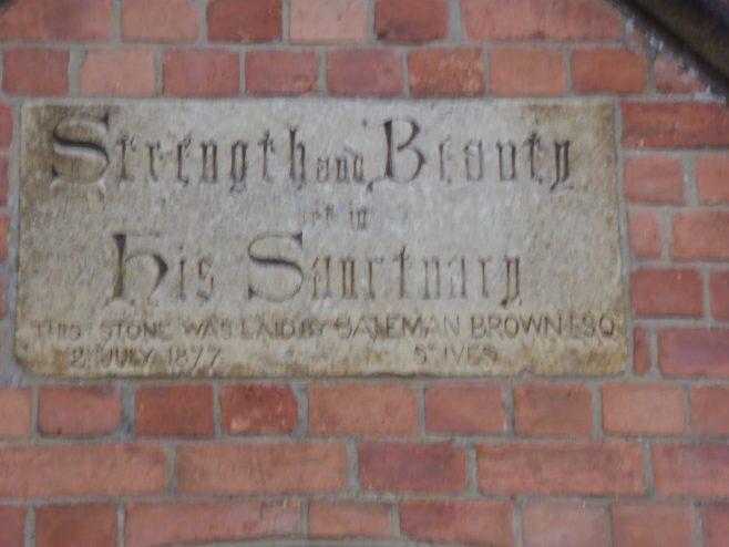Wellingborough Alma Street Independent Wesleyan Chapel, plaque  3.1.2019