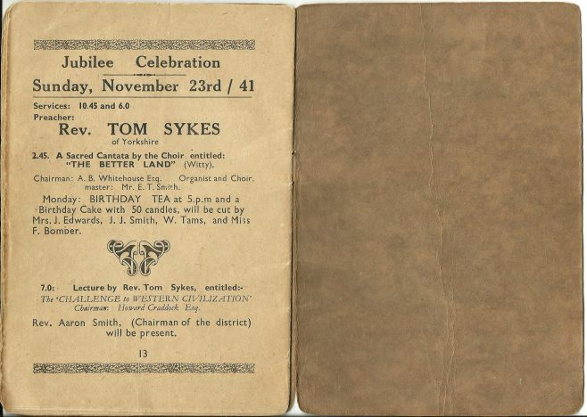 Walsall Wood Ebenezer Methodist Church, Golden Anniversary,1941, booklet part two