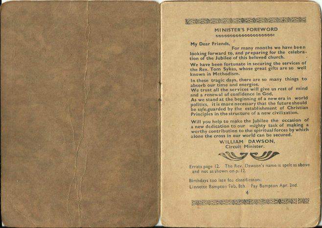 Walsall Wood Ebenezer Methodist Church, Golden Anniversary, 1941, booklet part one