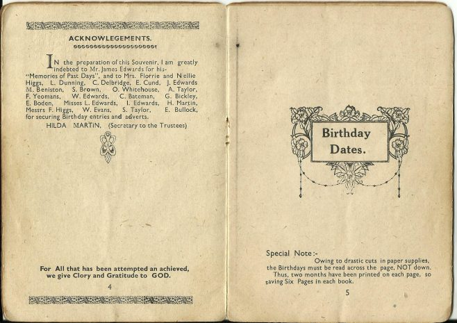 Walsall Wood Ebenezer Methodist Church, Golden Anniversary, 1941, booklet part one