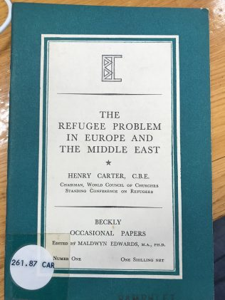 Rev Henry Carter, pioneer of the Methodist Refugee Fund, forerunner of All We Can