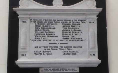 Dalton Methodist Church, Wellington St, Dalton-in-Furness, Cumbria War Memorials