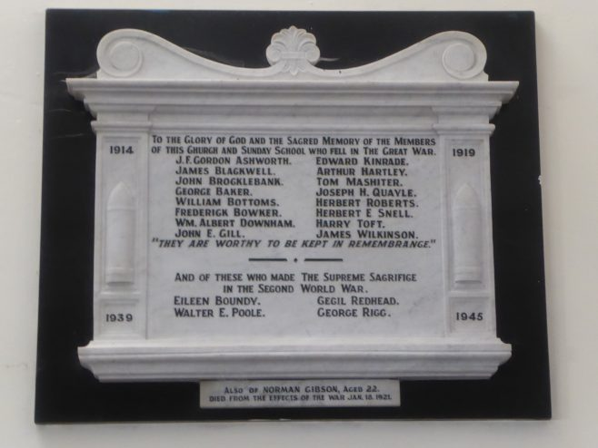WW1 and WW2 Memorial at Dalton Methodist Church, Wellington St, Dalton-in-Furness, Cumbria
