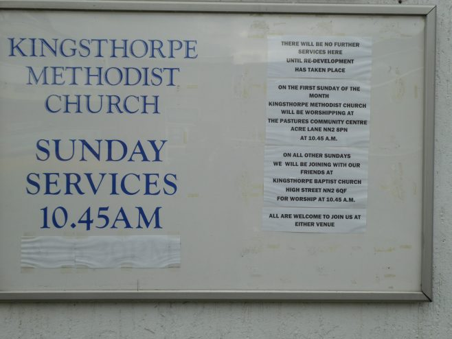 Kingsthorpe Methodist Chapel,  notice board, 14.06.2019