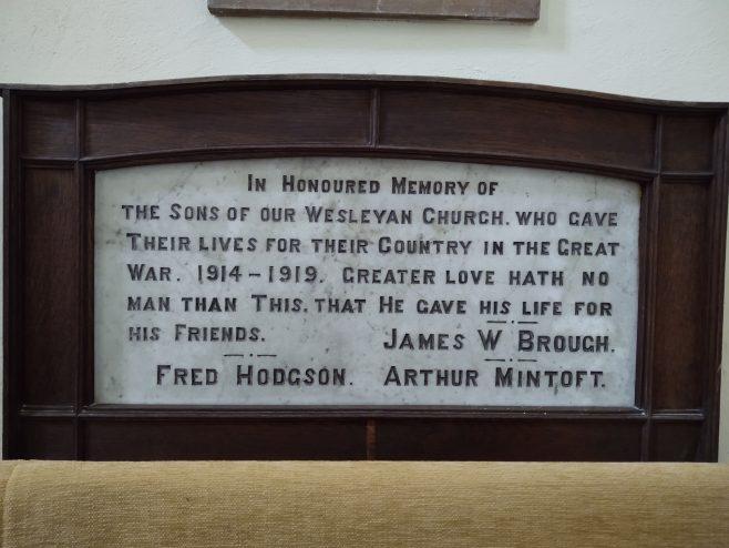 Middleton, Ryedale, Methodist Chapel Memorial, Now in St Andrews Church