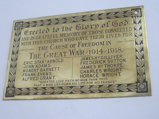 Lichfield Methodist Church WW1 Memorial Plaque