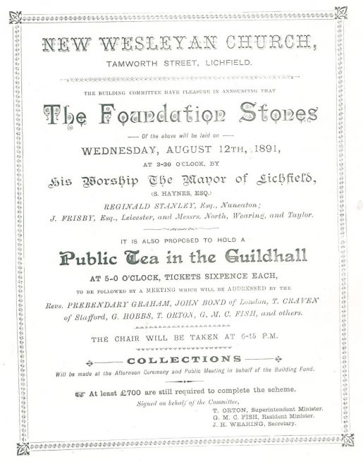 1891 New Wesleyan Methodist Church foundation stone ceremony