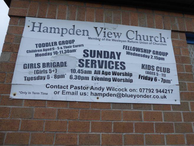 Sheffield, Wesleyan Reform Union chapel, notice board 14.02.2020