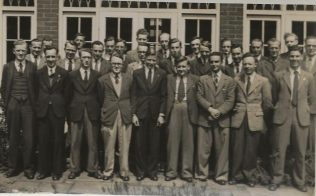 Rev. Brian Leslie Day (three from left 2nd Row) with other first year arrivals at Handsworth Theological College 1948/49