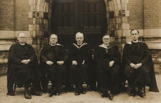 L-R Rev. George W. Andersen, Rev. Harold S. Derby, Rev Dr. Wilbert F Howard. Rev. Philip S. Watson and Rev Michael J. Skinner c. 1950