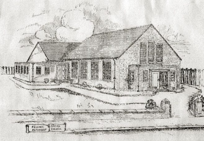 Architect's sketch plan of the new Felling Shore Methodist chapel | Image from the collections of the Newcastle upon Tyne District Archives