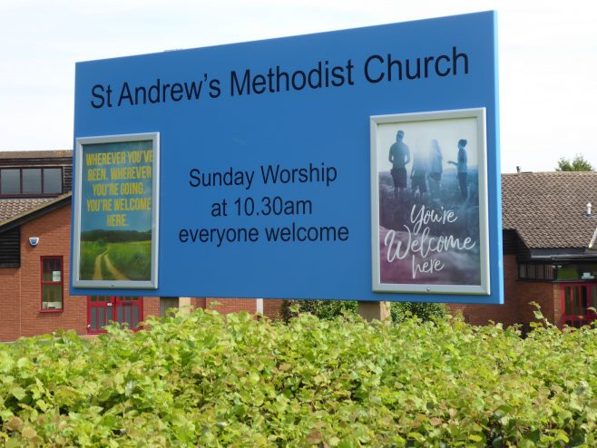 4 Duston, St  Andrew's Methodist Chapel, notice board, 3.8.2019