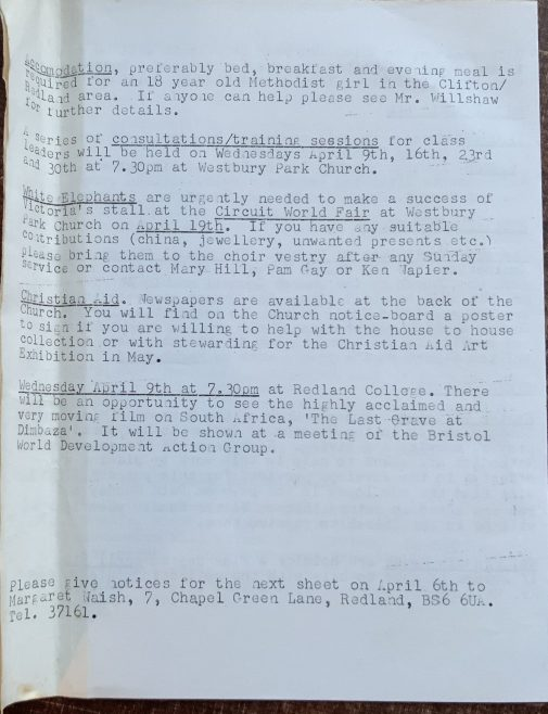 Victoria Methodist Church Clifton Bristol notice sheet 1975
