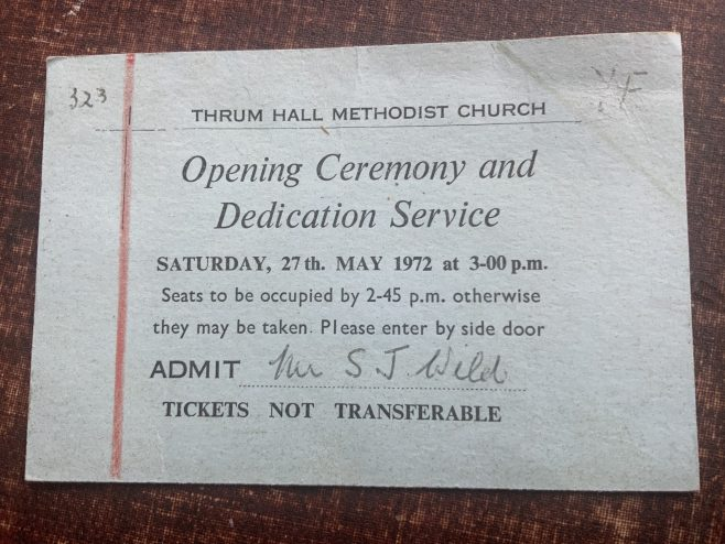 Ticket for the opening ceremony of Thrum Hall Methodist church, Rochdale, Lancashire