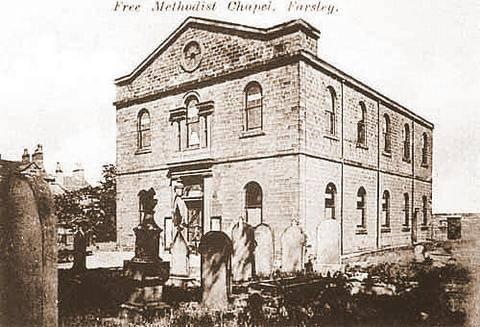 Exterior of Farsley Methodist Church before it was demolished.