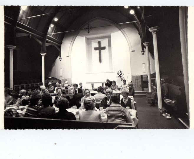 Church Meal in the upstairs worship area c. 1971