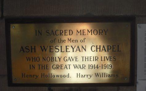 Ash Weslyan Chapel First World War Memorial Plaque