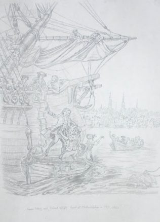 Francis Asbury Arrives Philadelphia | Drawing by Richard G. Douglas Used with Permission