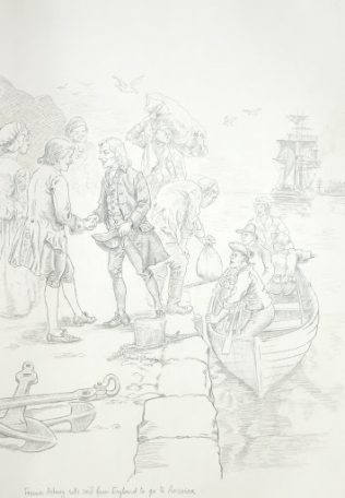 Francis Asbury Departs for Philadelphia | Drawing by Richard G. Douglas Used with Permission