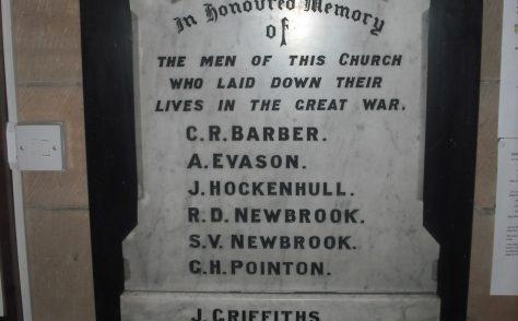 Castle Hill Methodist Church World War 1 Memorial Plaque, Whitchurch, Shropshire.