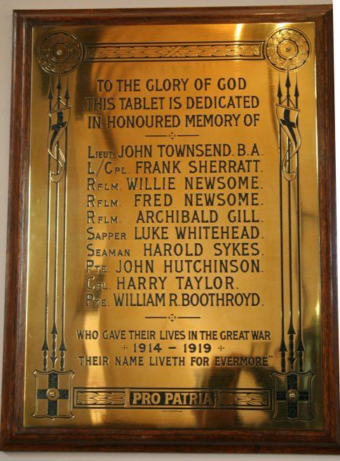 Honley Southgate Methodist Church WW1 memorial plaque