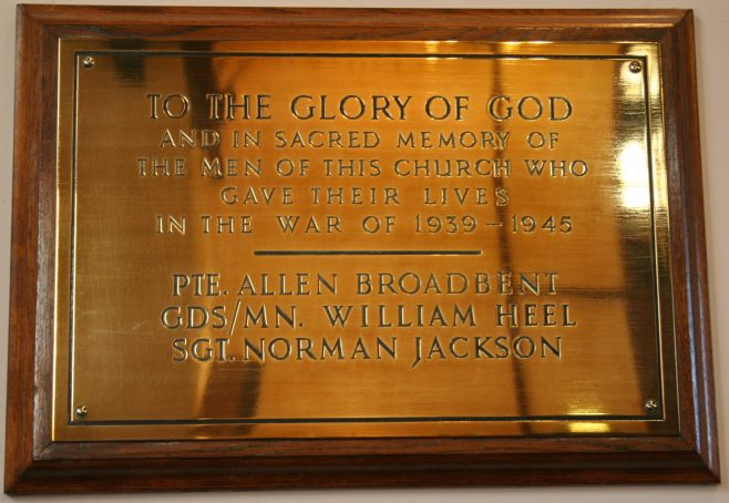 Honley High Street Methodist Church WW2 memorial plaque