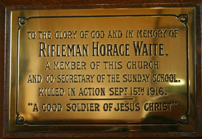Individual memorial plaque from Honley Congregational Church