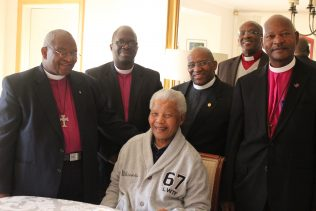 Nelson Mandela at his home in Qunu in October 2012  during a pastoral visit from the Presiding Bishop of the Methodist Church of Southern Africa, Bishop Ziphozihle Siwa and the General Secretary, Rev Vido Nyobole together with a delegation  of ministers comprising  Rev Dan Dabula, Rev Andile Mbete and Bishop Mangameli Noqayi. | Photograph courtesy of Bongie Moyo-Bango