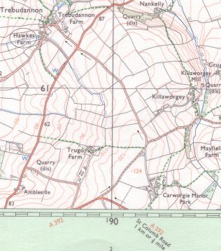 Trebudannon Meeting House and Chapel | Courtesy Ordnance Survey Pathfinder Map SW 86/96