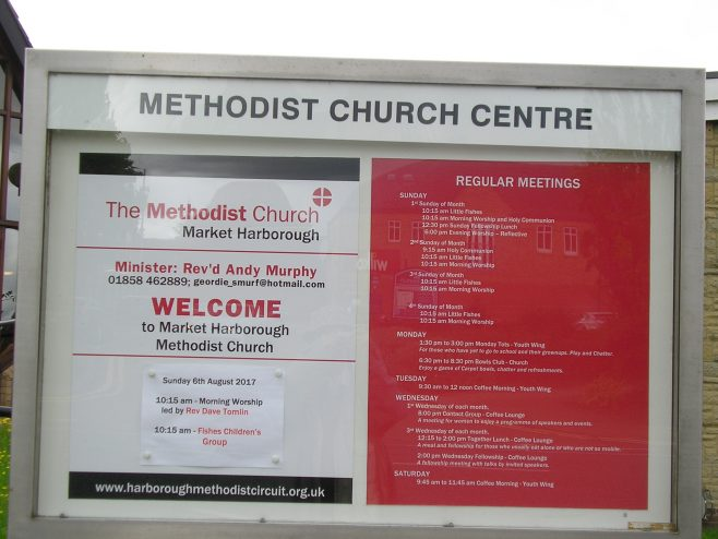 Methodist Church Centre, Market Harborough, notice board 2.8.2017 | G W Oxley