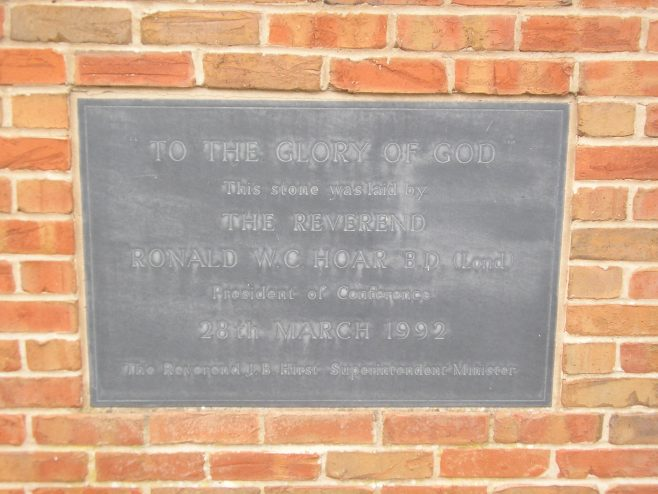 Methodist Church Centre, Market Harborough, plaque on the 1992 building 7.8.2017 | G W Oxley