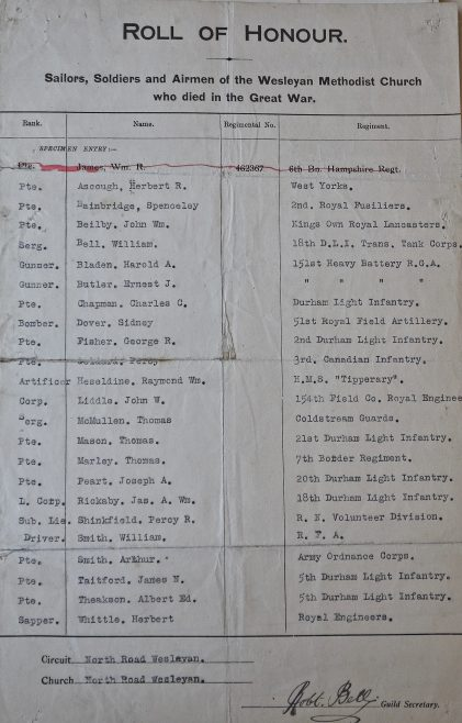 North Road Wesleyan,Darlington Roll of Honour. Methodist Archive and Research Centre (reference MA 8030 item 29) | Trustees for Methodist Church Purposes, 2016