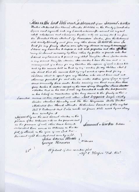 Will of Rev Samuel Newton | click to enlarge