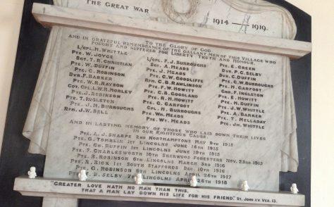 World War I Memorial, Skillington Chapel, Lincolnshire