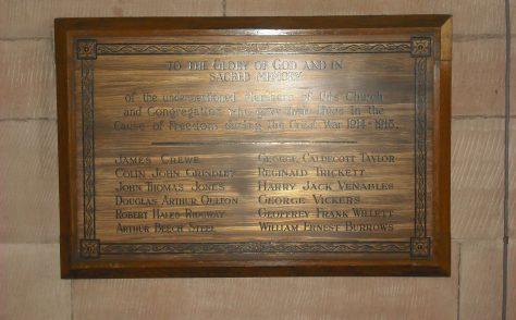 St. John's Methodist Church World War 1 Memorial, Whitchurch, Shropshire