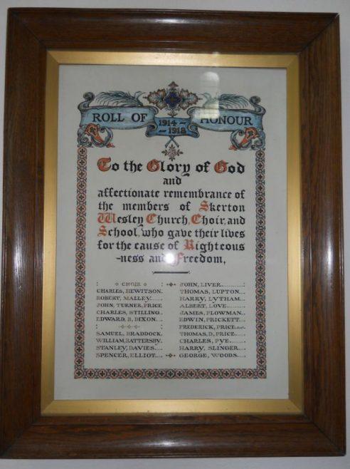 Skerton Methodist Church Memorial   click to enlarge