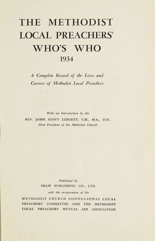 The Methodist Local Preachers' Who's Who 1934