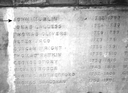 A tablet in the wall facing the obelisk at City Road, listing the preachers interred in the cemetery | John L. Symonds, 1989