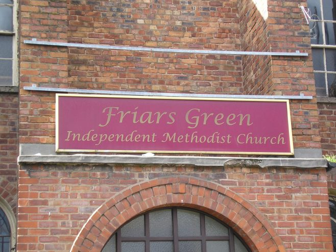 Warrington, Friars Green Independent Methodist Chapel,  name board, 23.02.2017 | G W Oxley