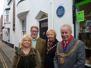 Shop owners, Allison Chan and John Conway, with the Mayor and Mayoress of Weymouth and Portland, Councillors Ray Banham and Pamela Nixon